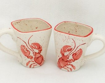 Mugs. Lobster Mugs. Sea. Maine. Coffee. 12 oz. Handmade by Sara Hunter Designs
