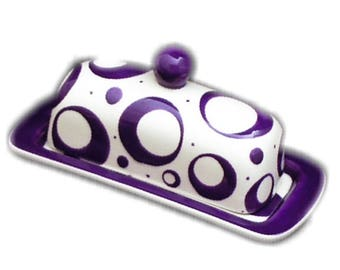 Butter Dish.Purple Knobbed Butter Dish. Circle.Purple. Dot. Butter. Dish. Tray. Handmade by Sara Hunter