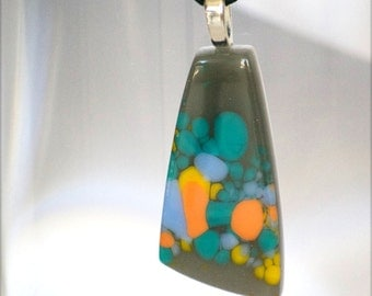 Glass Necklace, Handmade, Glass Pendant, Fused Glass, Charcoal Grey, Orange, Glass, Fused Glass Pendant, 047