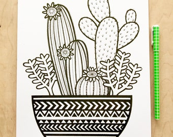 New A4 Cacti screen print  by Jane Foster  - hand printed signed LIMITED EDITION