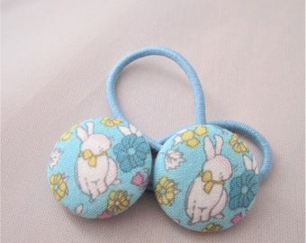 Bitty Bunnies - Easter - Ponytail holders - fabric covered button hair ties