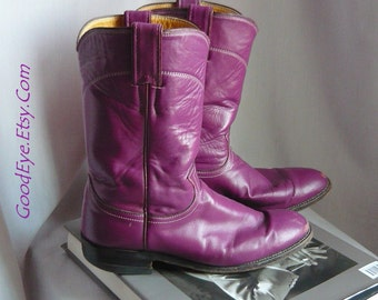 Vintage PURPLE Leather Justin ROPER Boots Size 8 Eur 38.5 Uk 5 .5 Ankle  Mens sz 7 B