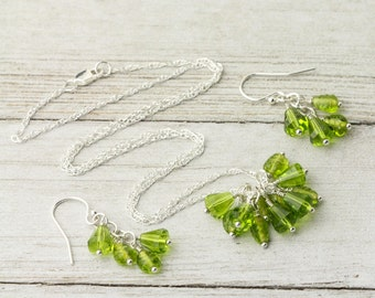 Green jewelry set - Matching jewelry set - Sterling silver jewelry - Gift for her - Nature lover Gift - Beaded jewelry set - Neutral colors