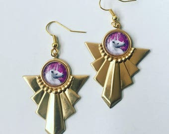Unicorn Art Deco Brass Charm Gold Earrings Fantasy