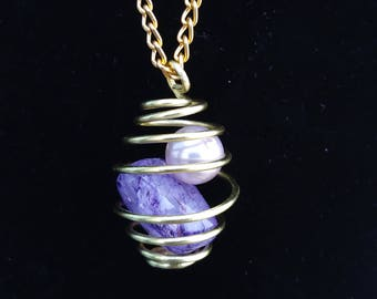 Wire and Stone Cage Pendant