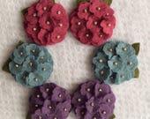 Heathered Jeweltones Wool Felt Mini Hydrangeas
