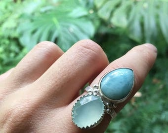 Amazing larimar & faceted chalcedony  // size 7.75 // one of a kind // made in byron bay // recycled sterling silver