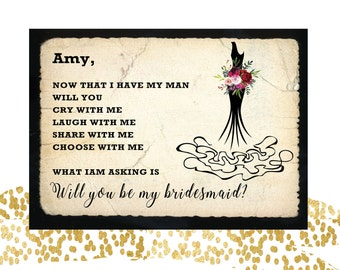 Will You Be My Bridesmaid Card // Notecard // Black Dress Bridesmaid Card // Maid of Honor  //  Wedding Party Card // Bridal Party Cards