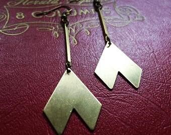 Chevron brass earrings