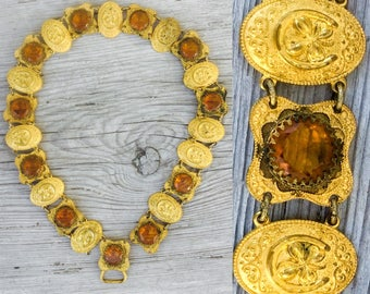 victorian gold belt 4 way connector lot parts Buckle glass cabochon horseshoe 4 leaf clover antique jewelry supplies findings repurpose e113
