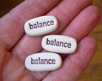 3 Balance Clay Words, Yoga Gifts, Pocket Words, Meditation Gifts, Zen Gifts, Inspirational Messages