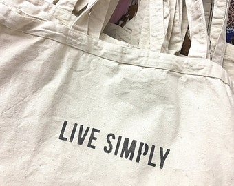 Large Reusable Natural Canvas Shopping Tote Bag Live Simply Design