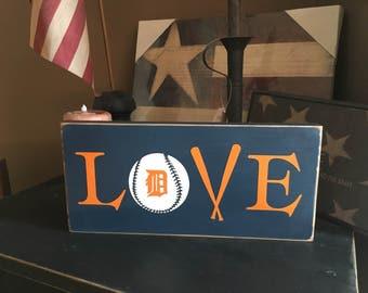 Love Ball Detroit Tigers Handpainted Wood Sign Plaque Baseball Decor Tiger Bat