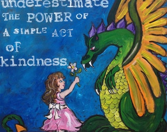 The Power of Kindness, Dragon Painting,  Wood Mounted Print, Ornaments, Coasters,