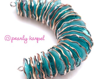 Pearly  transfer and opaque turquoise (28) Lampwork beads SRA made to order