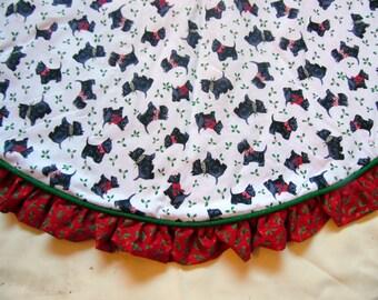 Scotty Dog Christmas Tree Skirt, Scottish Terrier Tree Skirt, Heirloom Quality Tree Skirt, Dog Lover Tree Skirt, Handmade