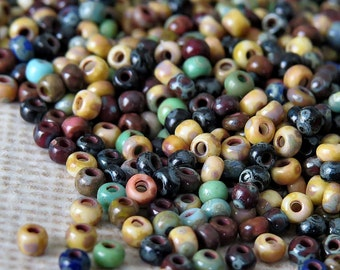 Czech 11/0 Opaque Picasso Seed Bead Mix  : 10 Grams Czech Glass 11/0 Picasso Seed Bead