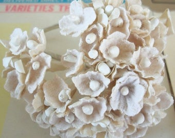 Forget Me Nots / Vintage Millinery / Aged White with White Centers / One Small Bouquet / Wedding / Easter