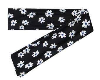 Cute Scarf Headband, Black & White Headband, Floral Headband, Headcarf Headband, Head Scarf Headband, Headband with Ties, Tie On  Headband