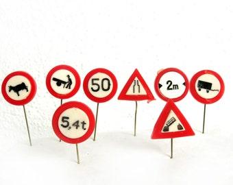8 Vintage 1960's Plastic Stick Pins - Traffic Signs - 60s Lapel Pin Lot - Dutch Collectibles