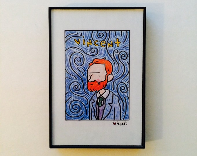 Vincent Van Gogh, 4x6 inch print, art, drawing, artists, painter, starry night, portrait