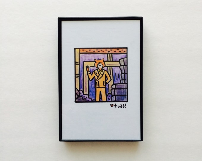 Art, Fantastic Mr Fox, Print, 4 x 6 inches, Wes Anderson, movies, film geek, George Clooney, gift idea, wall decor