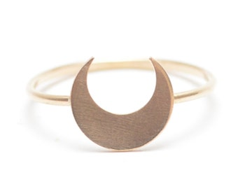 Luna Ring, Crescent Moon Stacking Ring, Gold Moon Ring, Lunar Ring, Horoscope Ring, Crescent Moon Ring, Delicate Gold Stacking Ring - Taurus