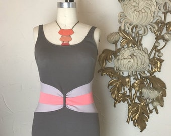 Fall sale 1950s swimsuit catalina swimsuit gray and pink vintage swimsuit one piece 1950s bathing suit 36 bust