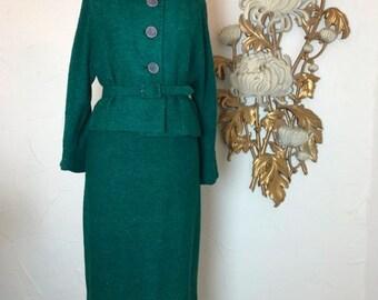 1950s suit green suit boucle suit size medium vintage suit suit with mink Kennie Original 38 bust