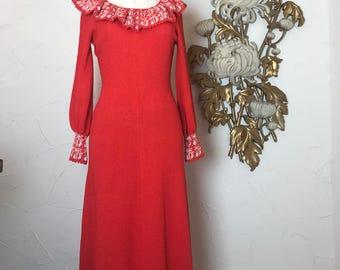 1960s dress maxi dress knit dress size medium miss joann vintage dress hostess dress mad men dress