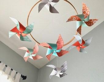 Baby Crib Mobile / Pinwheel Mobile / Nursery Decor / Coral, Mint, Aqua and White : Coral Reef
