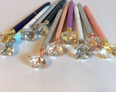Diamond Pen, Large Diamond Pen, Office Supply Metallic Pens with Oversize Diamond, Bling Pens, Fun Kawaii School Pens in Black Ink, Colorful