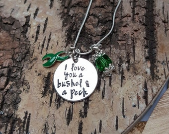 DG-2 Cerebral Palsy Awareness Necklace TBI Brain Injury Jewelry Scoliosis I Love You Necklace Gift For Her Bushel And A Peck Jewelry