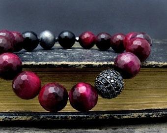 pave bracelet, pave beaded bracelet, red jasper bracelet, stretch bracelet, gift for her, black tourmaline bracelet, stacking bracelet