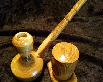 Wood smoking pipe set