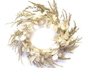 Gold White Money Plant and Wild Oats Dried Wreath