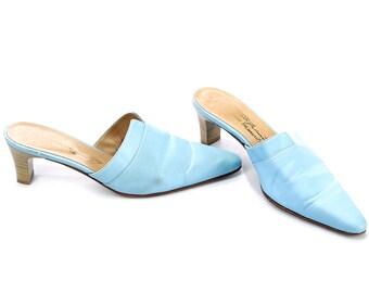 Blue Mules Vintage 90s Wide Fit Retro Sandals Slip On Shoes Textile and Leather Boho Slider Shoes Heels European US wom 9.5 UK 7 EUR 40