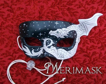 READY TO SHIP White Dragon Starry Night Mask... original leather masquerade costume galaxy mardi gras halloween burning man starry night