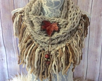 Pale Red Maple cowl... knit crocheted fringed yarn soft scarf leather tie bohemian boho