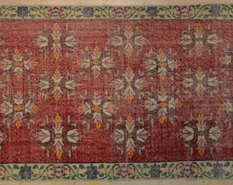 Rug Overdyed Vintage Red Floral 3.5' x 6.5'