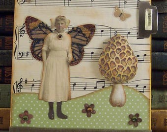 Fairy Collage Art - Mixed Media Fairy - Paper Collage Wall Art - Fairy with Mushroom and Butterflies Collage - Altered Art Fairy Wishes