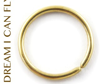 7mm 22g 14K Gold Delicate Hoops - Seamless cartilage hoop earrings / nose ring in 22 gauge solid 14K yellow, rose or white gold