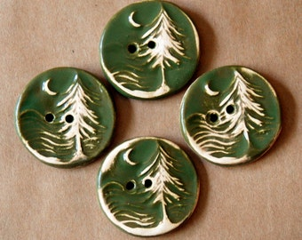 4 Handmade Ceramic Buttons - Moon over Cedar Buttons -  Woodsy Evergreen Buttons in Stoneware