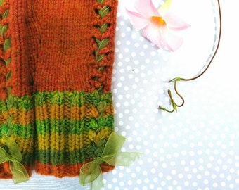 Fall Colors Fingerless Gloves. Handknit. Pure Luxury Cashmere.