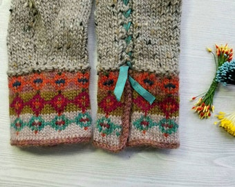 Fair Isle Wool Gauntlets. Womens Fingerless Gloves.