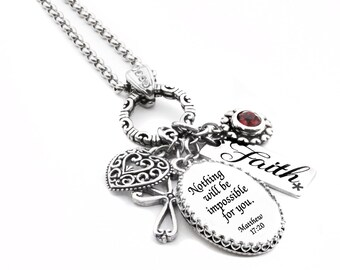 Religious Jewelry, Faith Jewelry, Personalized Bible Verse Jewelry, Bible Quote Necklace, Religious Pendant, Scripture Jewelry