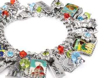 Italy Bracelet, Travel Bracelet, Italian Charm Bracelet with Vintage Italy Posters, Rome Charms, Venice Charms, Engraved Italian City Charms