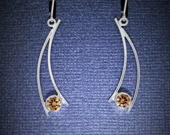 GemDrops Earrings, Sterling silver dangle earrings, Champagne color CZ earrings