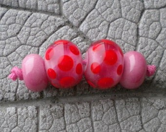 Pink Red Pairs Lampwork Beads by Cherie Sra R114 Earring pair Flameworked Glass Beads Lampwork Pink Enamel Red Dot Earring Pair Lampwork