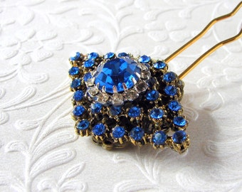 Royal Blue Rhinestone Hairpiece Cobalt Jeweled Hair Comb Something Old Vintage Jewelry Hairpin Wedding Bridal Formal Evening Pageant Prom